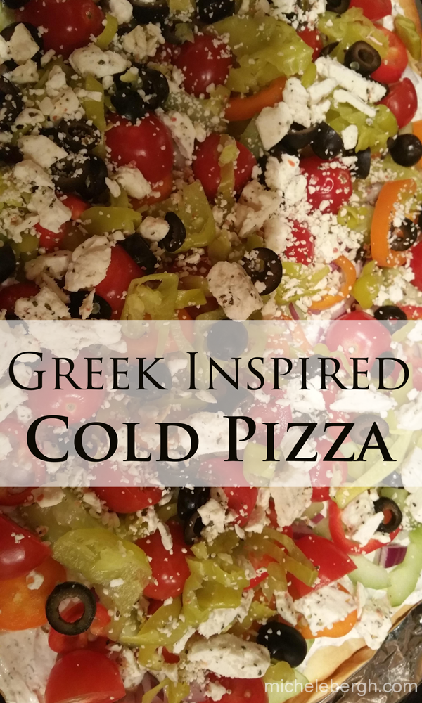 greek inspired cold pizza